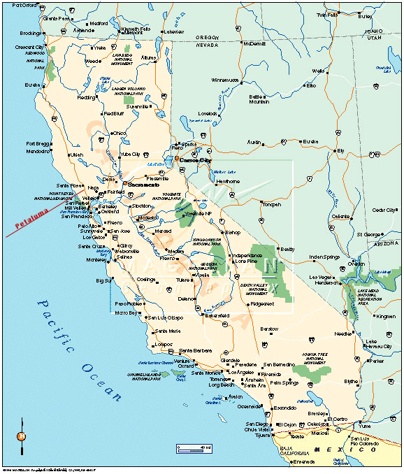 where is petaluma california on the map california map